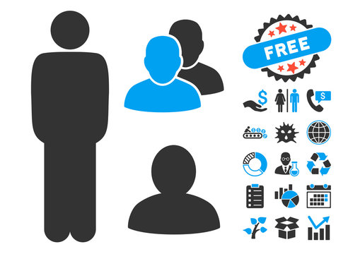 Standing Man icon with bonus pictogram. Vector illustration style is flat iconic bicolor symbols, blue and gray colors, white background.