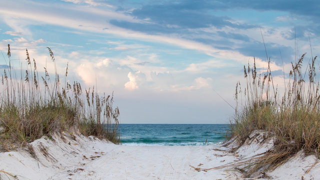 White sandy beach path to the ocean.
