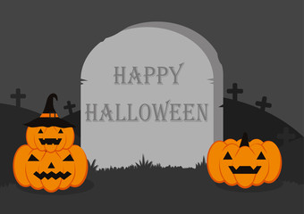 Halloween Vector Background - Happy Halloween painted on headstone with halloween pumpkins