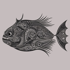 Vector drawing of piranhas from a variety of patterns