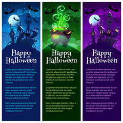 Three vertical orientation banners for Halloween.