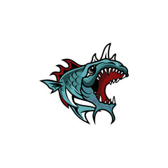 Monster Fish Character Illustration Logo Vector Image