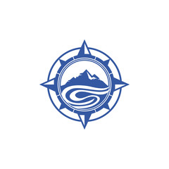 Mountain Compass Logo Vector Image Icon