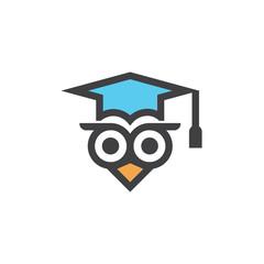 Owl Education Campuss Graduation Hat Logo Vector Image Icon