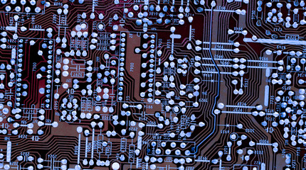 Part of old vintage printed circuit board