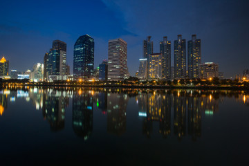 business district and reflection building