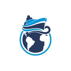 Ship Sea World Logo Vector Image Icon