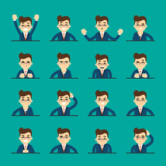 Cartoon man in various poses and facial expressions. People emotional icons isolated on blue background, vector illustration. Collection of female avatars faces. Different emotions icon set.
