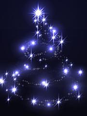 Bright Christmas tree on a dark background
