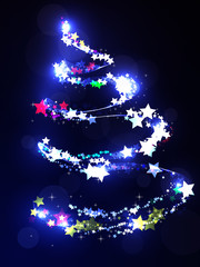 Bright Christmas tree on a dark background