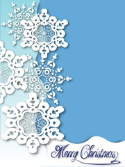 White Snowflakes on a blue gradient background For invitations ,cards ,banners and so on. Vector illustration.