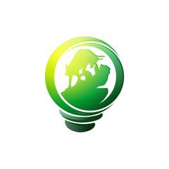 Stockmarket Bulb Logo Icon Vector Image Icon