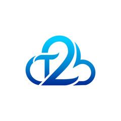 T2 Cloud Logo Vector Image Icon