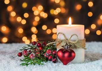 Weihnachten Kerze mit Herz Advent Hintergrund Glitzern Funkeln