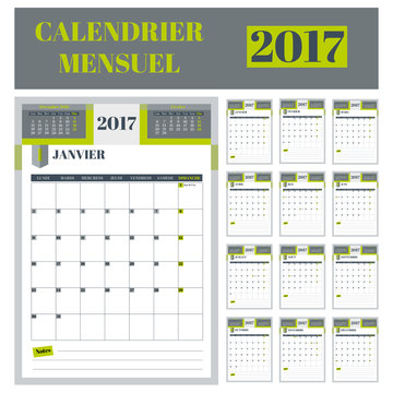 Calendrier mensuel 2017