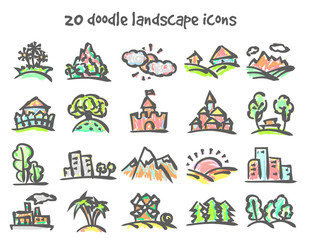 doodle landscape icons