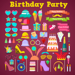 Birthday Party Decoration Set with Photo Booth Elements and Cake. Vector Icons