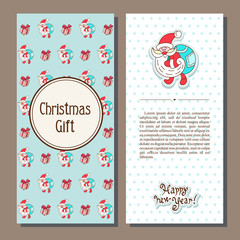 Set of vector Christmas card with cartoon Santa Claus style with