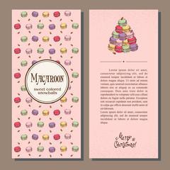 Set of vector Christmas cards with cartoon macaroons, Christmas