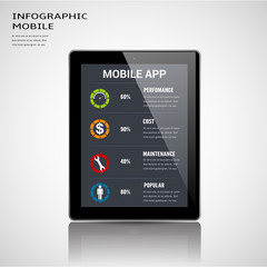 Mobile apps information infographic template.Can used for infographic,banner,data,chart,diagram,presentation business andsocial networkn.Vector illustration