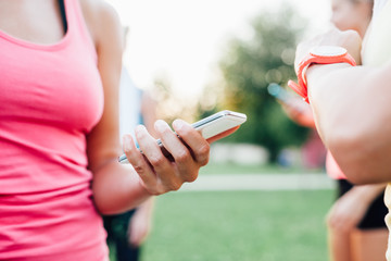 Sports women using new technology