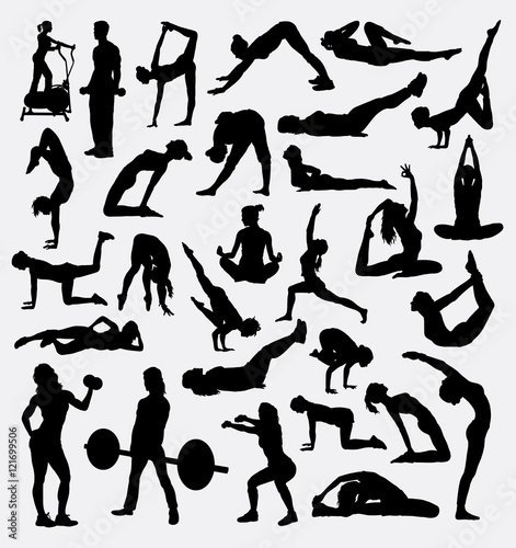 Fitness Gymnastic Pilates Sport Silhouette Male And Female Training Activity Good Use