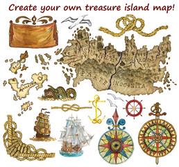 Set for treasure island map isolated