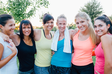 Portrait of happy fit women
