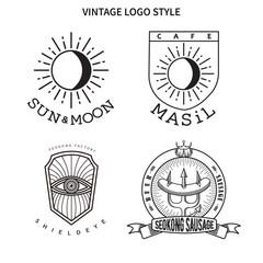 벡터 형식으로 해와 달, 눈과 방패, 소세지와 삼지창, 조합의 빈티지 로고 디자인.