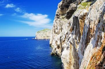 Capo Caccia cliffs near Neptune's grotto, Alghero, Sardinia, Italy