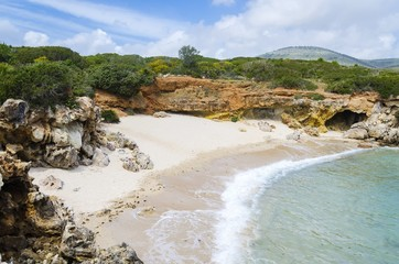 Small secluded beach near Alghero, Sardinia, Italy