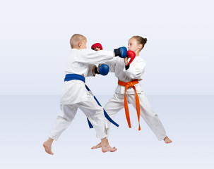 In karategi athletes train karate sparring