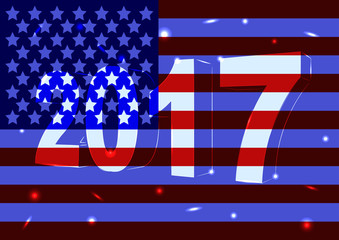 Новый 2016 год на фоне флага США