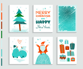 Greeting card: Merry Christmas & Happy New Year. Santa Claus, Christmas tree, snowmen, gifts, winter abstract background. Festive design. 6 creative hand drawn flyers with cartoon characters. A4 size