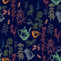Herbal tea seamless pattern hand drawn ink vector