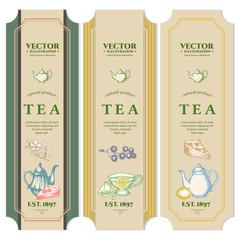 Labels Black tea Fruit tea Green Tea design package