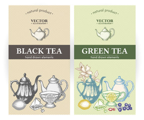 Black tea and green tea labels hand drawn vector