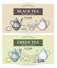 Black tea and green tea design vintage labels