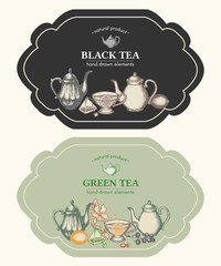 Black tea and green tea design vintage labels