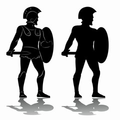 silhouette of a warrior, vector draw