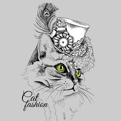 Cat portrait in a Elegant hat with net and feather on gray background. Vector illustration.