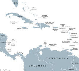 Central America countries political map with national borders from