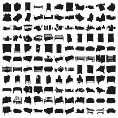 Set of Hundred Beds and Sofas Silhouettes. Beautiful Vector in High Resolution.