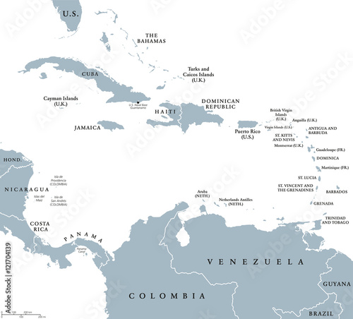 The Caribbean countries political map with national borders The