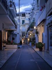 Shopping street on Capri island at night, Italy