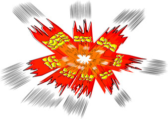 Vector illustrated comic book style explosion on white background.