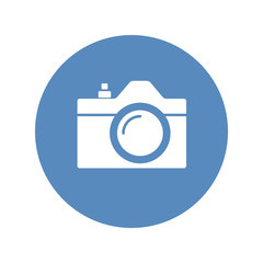 Camera icon, sign placed in blue circle