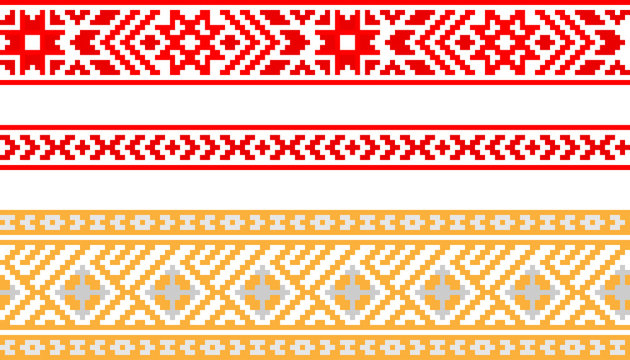 Set of ribbons with Baltic seamless ornament, vector image.