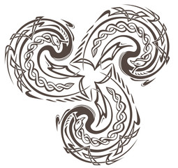 Illustration of Celtic disk ornament with triple spiral symbol. Black and white vector image.