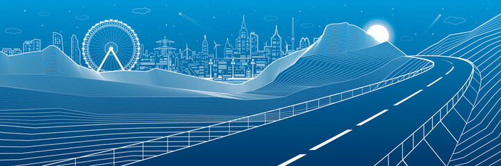 Highway in mountains, night scene, neon city skyline and ferris wheel on background, white lines landscape, vector design art